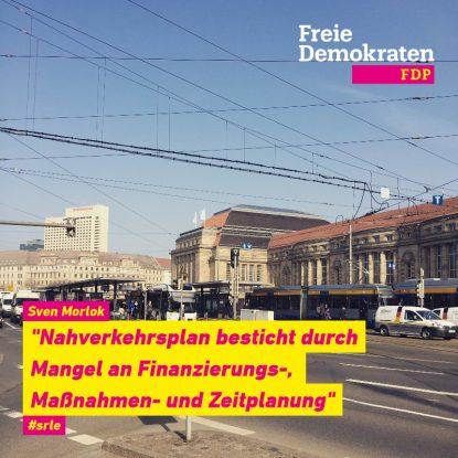 """Haltestelle vor Leipziger Hauptbahnhof mit einem Bus und einer Straßenbahn dazu Text: Sven Morlok: """"Nahverkehrsplan besticht durch Mangel an Finanzierungs-, Maßnahmen- und Zeitplanung"""""""