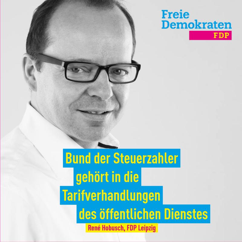 Hobusch (FDP): Bund der Steuerzahler gehört in die Tarifverhandlungen des öffentlichen Dienstes