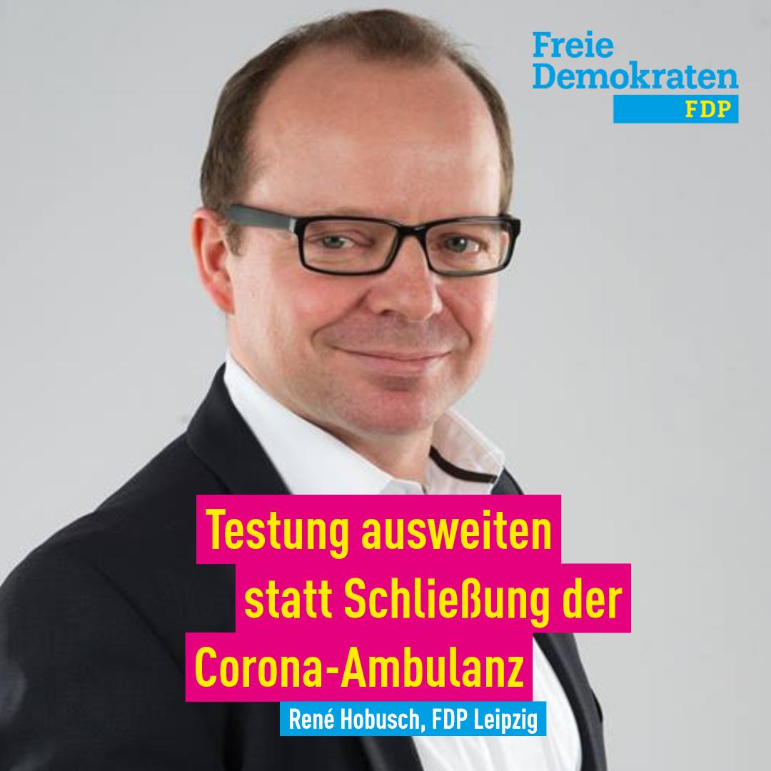 Hobusch( FDP): Testung ausweiten statt Schließung der Corona-Ambulanz